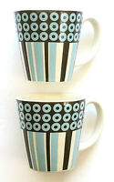 2 Jonathan Adler Circles And Stripes Happy Home Coffee Mugs Tea Cups 12 oz.