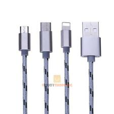 3in 1 Lighting + Micro USB + Type C Braided Phone Charging Data Sync Cable Wire