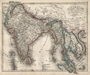 Indien Südostasien Original Stahlstich Landkarte Radefeld 1860