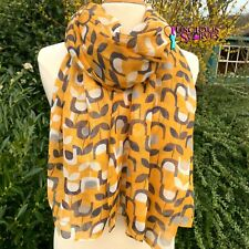 MUSTARD GREY & OFF WHITE SCARF WITH A BLOCK FLORAL DESIGN LADIES SUPERB QUALITY