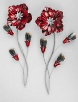 672667 Wanddeko Blume rot sortiert 58cm aus farbigem, glänzendem Metall
