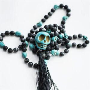 8MM lava Stone Turquoise Gemstone Mala necklace Tassel 108 Beads Healing