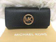 NWT Michael Kors  Fulton Flap Continental  Wallet Black Leather MK Gold Logo