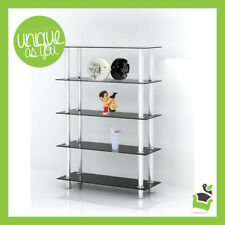 Cheap 5 Tier Shelf Black Glass Stainless Steel Bar Display Storage Stand Unit