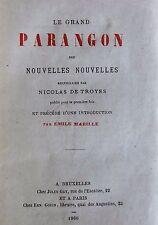 Le Grand Parangon des nouvelles nouvelles recueillies par Nicolas de Troyes 1866