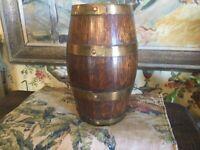 "Small Antique English Victorian Brass & Oak Barrel 10"""