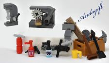 LEGO NEW  garage machine tools - circular saw, drill press. vice,  extinguisher
