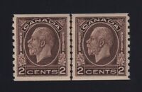 Canada Sc #206i (1933) 2c black brown Medallion Coil Line Pair Mint VF H
