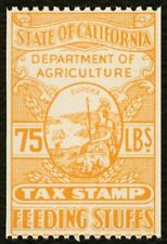 75 Lbs. California Feeding Stuffs Tax Stamp, Mint OG NH **ANY 4=FREE SHIPPING**