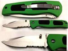 3.5 inch Folding Knife Clip Back Half Serrated With Nylon Sheath