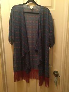 LuLaRoe Monroe Kimono w/ Fringe NWT Size L Blue And Clay fringe sheer
