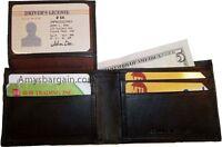 Man's wallet. skinny leather Bi-fold wallet 6 bank card holder 2 billfolds 1 ID.