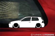 2x Lowered car outline stickers - for Volkswagen Mk4 Golf 1.8t,R32,GTi 3 door vw