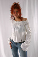Caribbean Pirate Renaissance Wench Medieval Costume White Blouse Top XXL