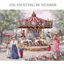 Oil Painting By Numbers Childhood Amusement Park Carousel Painted Canvas Picture