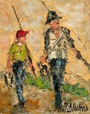ANDRE DLUHOS Fishing Anglers Grandpa Boy ORIGINAL Palette Knife Oil Painting