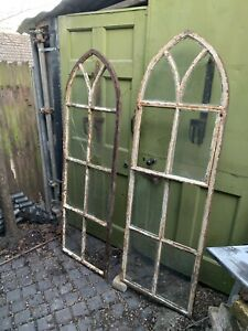 Antique Gothic cast iron arched window frame