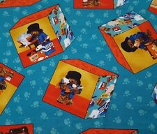 Paddington Bear 50th Anniversary BTY Quilting Treasures Bake A Cake Cubes Teal