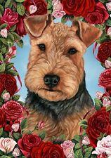 Roses Garden Flag - Welsh Terrier 194871