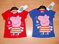 NEW GIRLS PEPPA PIG T SHIRT SHORT SLEEVE RED NAVY AGES 2 3 4 5 6 7 8