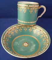 Antique 18thC Sevres Porcelain Jewelled Cup & Saucer Porzellan Tasse Jewels