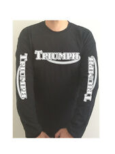 TRIUMPH CLASSIC SLEEVE PRINT motorcycle GILDAN t-shirt SEE BOTH PHOTOS