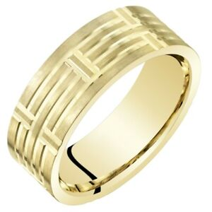 Men's 14k Yellow Gold Wedding Band, 7mm, Comfort Fit Ring Sizes 8 to 14
