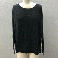 Ann Taylor LOFT Light Knit Sweater Women's L Black Sparkle Long Sleeve Pullover