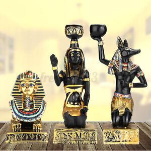 Vintage Egyptian Figurine Sphinx Anubis Goddess Sculpture Candle Statue  ~ *
