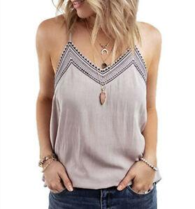 women Lace stitching v-neck sexy print strap top