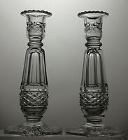 PAIR CRYSTAL CUT GLASS CANDLE HOLDERS STANDS CANDLESTICKS TEALIGHT WEDDING 21CM