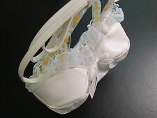 White Corset Bra Purse, Satin Ribbons and Lace, NWT
