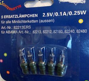 Ersatzbirnen 5 Stück 2,5V 0,25W 0,1A für ABAMA Lichterkette Artnr.82213E neu/ovp