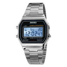 Men Vintage Classic Stainless Steel Watch Led Digital Waterproof Wristwatch