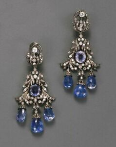 Vintage Style Blue CZ 925 Sterling Silver White Round CZ Briolette drop Earrings