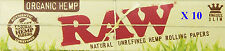 RAW ORGANIC KING SIZE SLIM X10 SMOKING CIGARETTE ROLLING PAPERS UNREFINED