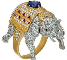 DIAMONIQUE 14K YELLOW GOLD-CLAD STERLING SILVER ELEPHANT RING SIZE 8 QVC $129.00
