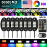 8pcs RGB LED Rock Lights Pod Offroad Truck Boat Lamp Under Glow Remote Control g