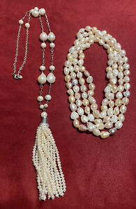 Freshwater pearl tassel fireball baroque necklace and pastel FWP strand necklace