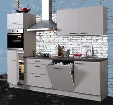 Einbauküche Malmö 8 Kaschmir Küchenzeile 250 cm mit E-Geräte/ Schränke montiert!