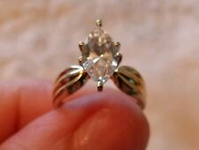 14K Yellow Gold DQ Diamonique Marquise CZ Engagement Wedding Ring Size 5