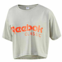 Reebok Classic Short Sleeve Crew Womens Grey Crop Tee Top T-Shirt BR7320 RW6