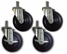 """5"""" Swivel Casters w/ Rubber Wheel & 1/2""""x1-1/2"""" Threaded Stem - 4 PK; 2 w/ Brake"""