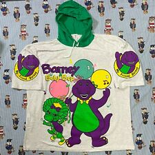 VTG 90s DEADSTOCK Barney and Baby Bop ADULT XL Green Graphic Hooded T Shirt USA