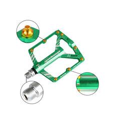 BIKEIN Ultralight MTB Road Bike Pedals Non-Slip Flat Platform Fixed Gear (Green)