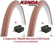 "2 copertoni KENDA 700x28 kwest Marrone 2 camere per bici 28"" Single Speed"