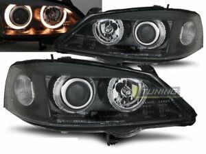Faróis Opel Astra G 97-04 Angel Eyes Preto RHD/LHD Frete Grátis AU LPOP32 XINO A