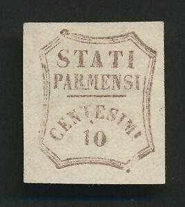 PARMA STAMP 1859 10c PROVISIONAL GOVERNMENT VACCARI #27, MINT NO GUM, SIGNED