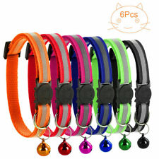 6 Pcs Breakaway Reflective Safety Cat Collars W/ Bell adjustable from 19-22cm