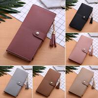 Women Lady Leather Tassel Wallet Long Zip Purse Card Holder Case Clutch Handbag